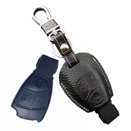 Wholesale Keychain Mercedes - leather key fob cover for Auto Mercedes benz AMG C E S CLK SLK CLS series key holder wallet Mercedes keychain accessories