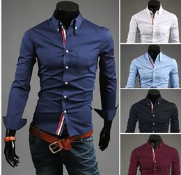 Wholesale Stylish Shirt Dresses - New Arrival mens dress shirts designer Slim fit stylish Dress 2015 long Sleeve mens business Shirts plus size M-XXXL D0034