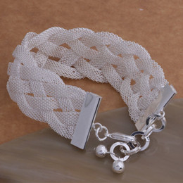 Wholesale 925 Silver Braided Bracelets - Free Shipping with tracking number Top Sale 925 Silver Bracelet Big Braid Bracelet Silver Jewelry 10Pcs lot cheap 1600