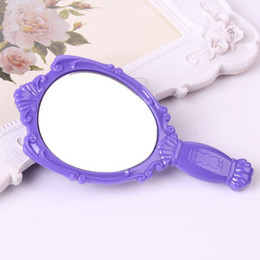 Wholesale Girls Hand Mirror - 12pcs LOT Vintage Rose Cosmetic Mirror Plastic Makeup Mirror Cute Girl Hand Make Up Mirror jy123