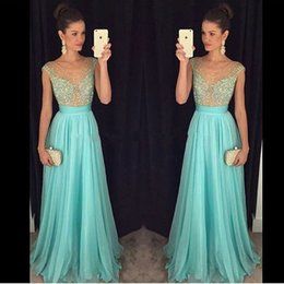 Wholesale Mint Beaded One Shoulder Dress - Mint 2016 Prom Dresses Sexy Sheer Crystal Beading Formal Long Party Gowns Bridesmaid Dress With Illusion V Neck Cap Sleeves Zip Back Chiffon