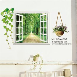 Wholesale Golden Forest - 3D Window View Forest Landscape in Four Seasons 3D Wall Sticker Green Golden Tree Removable Wallpaper Home Decal Home Decor Wholesale