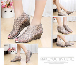 Wholesale High Heeled Jelly Shoes - Women's high-heeled open toe sandals crystal glitter transparent jelly bird nest cutout shoes network hole shoes