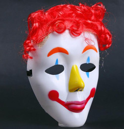 Wholesale Red Masks For Masquerade - Dance party COS Clown mask kids children Hallowmas Venetian mask masquerade full face masks with wig hairpiece Festive event Supplies