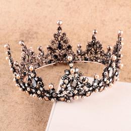 coroa pérola princesa cabelo Desconto Diamante Coroa De Pérolas Para O Casamento De Noiva Barroco Estilo Mais Recente Rainha Da Coroa Do Cabelo Do Casamento Jóias Para A Princesa