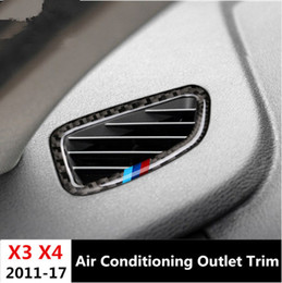 Wholesale X3 Carbon - 2pcs Car styling Carbon Fiber Dashboard Air Conditioning Outlet Frame decoration decals for BMW X3 F25 X4 F26 2011-17