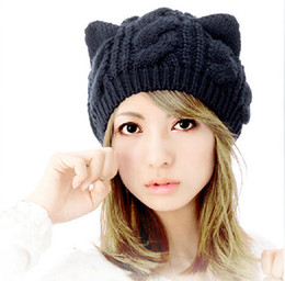 Wholesale Korean Cat Beanie - Cat Ears Cute Hats for women brand knitting warm korean fashion hot selling lovely Beanies Winter knitted Cap Free shipping