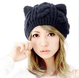 Wholesale Korean Cute Winter Hats - Cat Ears Cute Hats for women brand knitting warm korean fashion hot selling lovely Beanies Winter knitted Cap Free shipping