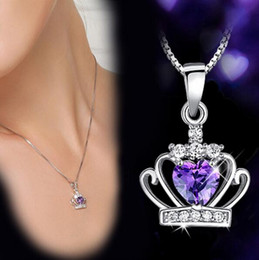 Wholesale Crowned Heart Pendant Necklace - Classic Crown Pendant Necklace Fashion 925 Sterling Silver Austrian Crystal Crown Pendant Purple Silver Water Wave Necklace Women Jewelry