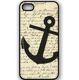 Wholesale Iphone 4s Wings Case - Wholesale Angel Wings Fashion Sailor Anchor vintage Protective Hard Mobile Phone Case Cover For Iphone 4 4S 5S 5C 6