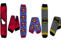 Wholesale Baby Chevron Leggings - 2015 New hot sale Infant Baby Superman Batman Spiderman Leg Warmers Infant Chevron legwarmers baby boy Super Hero Leggings Socks 3Pairs=1Set