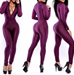 Wholesale Club Wear Jumpsuits - Free Shipping DK4005TL Purple Jumpsuit Women Bandage Rompers 2015 Sexy Bodycon Bodysuit Party Overalls Club Wear Jumpsuit S M L