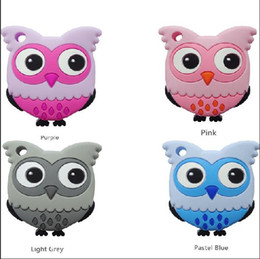 Wholesale Cute Animal Necklaces - Cute Silicone Owl Teether Food Grade Owl Pendant Baby Toys Teether Chewable Sensory Necklace Nurse Gift Baby Care