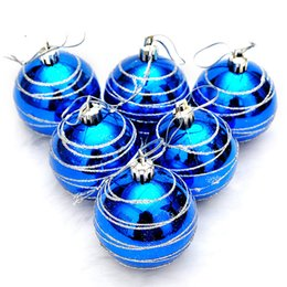 Wholesale 6cm Blue Christmas Ball - Wholesale- 12PCS Christmas PVC Striped 6cm Balls Ornament For Tree Red Blue Gold Pendant Hanging Drop Decoration Xmas Ornament Supply