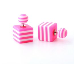 Wholesale Mother Pearl Squares - Geometric Candy Color Stud Earring Bead Square Striped Pattern Earrings Double Side Pearl Stud Earrings For Women Fashion Jewelry