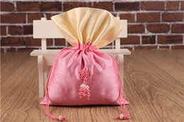 Wholesale Chinese Silk Knot Pouch - Large Patchwork Chinese knot Gift Bag for Jewelry Pouch Drawstring Packaging Silk Fabric Cloth Art Trinket Spices Storage 18 x 25 cm