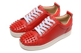 Wholesale Footwear Sheepskins - Luxury Brand Red Bottom Sneakers Red Suede with Spikes Casual Mens Womens Shoes Sheepskin Toe Nail Trainers Footwear Flat Shoes 36-46