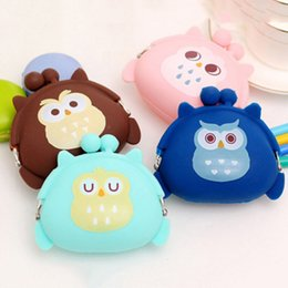 Wholesale kids owl purses - Wholesale- Owl Silicone Coin Purse kids Gift Cartoon Trendy Baby Mini Coin Bag Lady Change Purse Women Smart Wallets 4 Color
