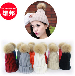 Wholesale Golf Balls Retail - New 2015 Winter Ladies Ball Wool Beanies Hats Fashion Thick Autumn Kitting Skull Beanie Caps for Retail and Wholesale 10colors