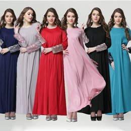 Wholesale Abaya Embroidered - 2015 Chiffon Long sleeve Dress Solid Color Dress bling sleeve Muslim Maxi Dress Abaya Islamic Embroidered Pakistani dress S750L