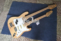 Wholesale Bass Single - free shipping new Big John double neck single wave electric guitar and bass with maple fingerboard in natural +foam box F-3126