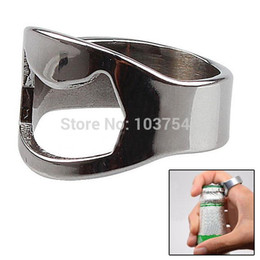 Wholesale Steel Ring Beer - 1 X Stainless Steel Finger Ring Bottle Opener Beer Bar Tool Practical Party IA887 W0.5