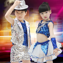 Wholesale Children Belly Dance Pants - Christmas Halloween Stage Wear Jazz Dancewear DS Dancing Costumes Boys Sequins Crop Top Shine Short Pants Tiered Girls Dress Suits for Child