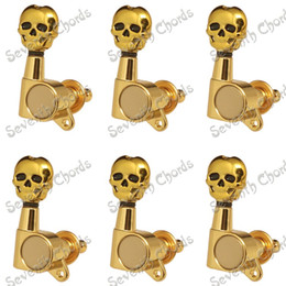Wholesale Gold Tuning Heads - A Set 6R Gold Inline Guitar String Tuning Pegs Tuners Machine Heads for Electric Guitar - Skull Head Button