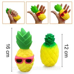Wholesale Decompression Toys - Pineapple Squishy Sunglasses Decompression Jumbo Scented Simulation Squishies Decoration Kids Toy Glasses Squeeze Gift Free Shipping SQU012