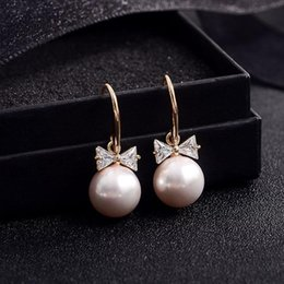 Wholesale Pink Real Pearls Earrings - Europe and America big brand Korean high quality real gold plated AAA zircon pearl cute bowknot earrings women fashion earrings jewelry