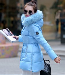 Wholesale Winter Coat Hood Parka - Wholesale-Womens Winter Jackets And Coats Women 2016 New Down Parka Raccoon Fur Hood Women Duck Down Jacket Coat Black Blue Army S-XL