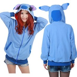 Wholesale Blue Tail Cosplay - Wholesale-New Arrival!!! Blue Stitch Japan Ears Face Tail Zip Hoody Sweatshirt Costume cosplay Cute Hoodie Stitch,5 Size: S M L XL XXL