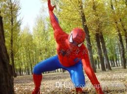 Wholesale Black Spider Costume - 2017 hot new Spiderman Costume Red Black Spider Man Suit Spider-man Costumes Adults Children Kids Spider-Man Mascot Clothing