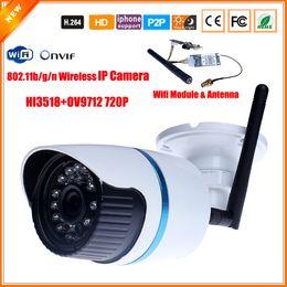 Wholesale 1mp Ip Camera - Wifi IP Camera Wireless Outdoor Waterproof Bullet Camera IP Wi-Fi 802.11b g n 150Mbps ONVIF HI3518 XMEYE 720P 1MP IR Cut Filter