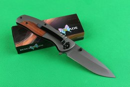Wholesale Titanium Knives China - China made OEM Butterfly F71 Tactical folding knife, 440C 57HRC Blade, Titanium coated, Steel handle, New in original paper box