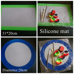Wholesale Silicone Round Pads - Silicone wax pads dry herb mats large 20cm round or 31*20cm square mat dabber sheets jars dab tool for dabber oil containers FDA