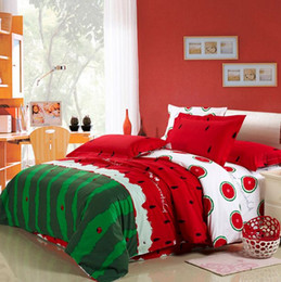 Wholesale Watermelon Bedding Set - Watermelon bedding set king size queen full double quilt duvet cover sheets bedspread bed in a bag linen bedsheet cotton thick western