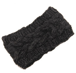 Wholesale Orange Crochet Headbands - Fashion Womens Adult Lady Crochet Winter Autumn Knit Headbands Warm Hoop Wide Plait Headbands ear warmer Wool Stretch Hair Bands D706J