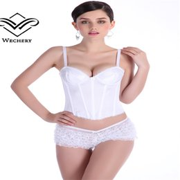 Wholesale Wedding Dress Bras Corsets - Wholesale-Women white wedding corset with straps sexy lingeries set push up bra hook & eye corset insert for wedding dress