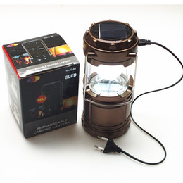 Wholesale 12v Led Garden Lanterns - Wholse 2 Colors Portable Tensile Rechargeable Solar Camping Lantern Tent LED Lights Red Indicator Outdoor Lighting for Hiking Fishing