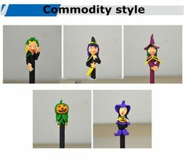 Wholesale Pottery Decorations - 16cm long Halloween Ruanmao ball pearl ghost festival decoration student prize cartoon pen soft pottery small gift DHL or SF Express