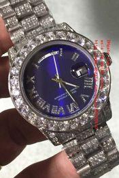 Wholesale Blue Gem Stones - Latest High Quality Watch Blue 41mm DAY DATE Diamond Roman Dial Platinum Full Diamond Bracelet 2836 2813 Mechanical Automatic Mens Watches
