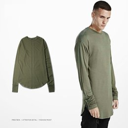 Wholesale Arc Green - 2016 New T-Shirt Men Fashion Brand Arc Cut Solid Clothes Hip Hop O-neck Long Sleeve Yeezus T Shirt 5 Colors Swag Streetwear