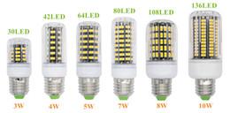 Wholesale led e26 corn - E27 E26 E14 GU10 G9 B22 LED Light Office Corn Bulb Super Bright 5733 SMD 7W 12W 18W 22W 25W 35W 136 LEDs Warm White Via DHL