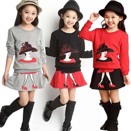 Wholesale Leopard Skirt Suits - Autumn Baby Girls Clothes Sets Kids Clothing Suits Pretty Girl Long Sleeve Shirts Blouses+Skirt 2pcs Toddler Winter Warm Costume