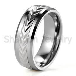 Wholesale Men S Cluster Rings - Fashion Free Shippping Wholesale Fashion Jewelry Tungsten Carbide with stainless steel spining ring Men\'s Finger Rings Wedding Band