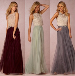 Wholesale Prom Trends - 2017 New Trends Two Pieces Bridesmaid Dresses Lace Bodice Tulle Skirt Burgundy Grey Mint Sheer Crew Neck Full Length Elegant Prom Dresses