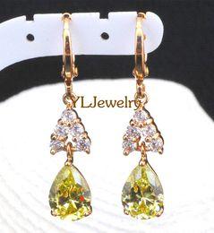 Wholesale Vintage Peridot Jewelry - Dangle vintage big earrings 18K Gold plated Peridot Wholesale & Retail fashion Jewelry Green Topaz Drop Earrings JE375A
