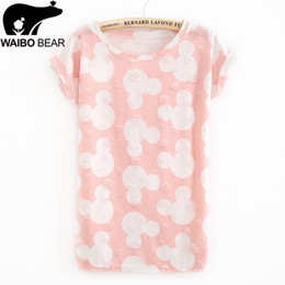 Wholesale Shirt Micky Mouse - Summer Cool Fashion Tassel Design Hole T-shirt Micky Mouse Print Frayed Hole T Shirts Female Short Sleeve Sexy Thin Ladies Tops