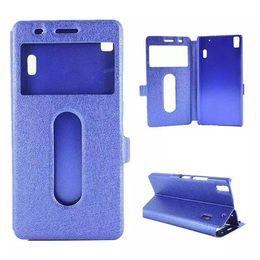 Wholesale Silk Wallet Case - Lenovo K3 Note Case Silk View Windows Wallet Case Flip Cover Leather Cases Stand For Lenovo Lemon K3 Note mobile Phone Bags Case
